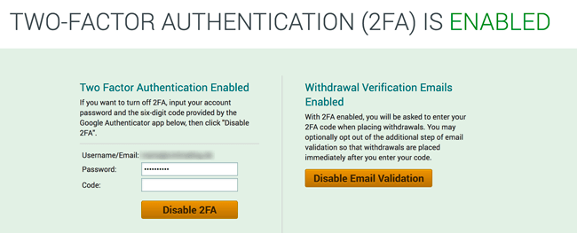 2 Faktor Authentication bei Poloniex